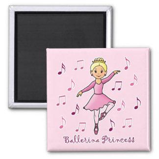 Princesa de la bailarina imán cuadrado