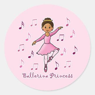 Princesa de la bailarina pegatina redonda