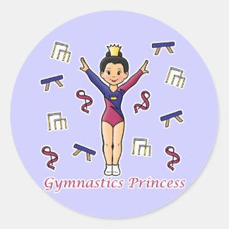 Princesa de la gimnasia pegatina redonda