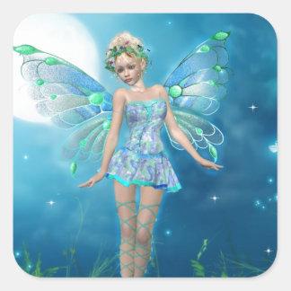 Princesa de la mariposa pegatina cuadrada