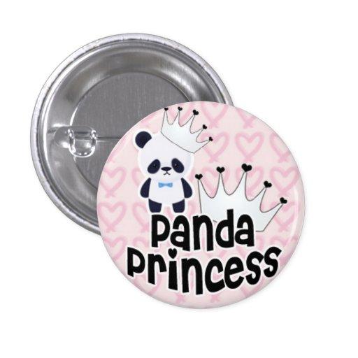 Princesa de la panda con los corazones rosados pin redondo de 1 pulgada