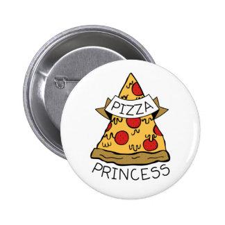 Princesa de la pizza pin redondo de 2 pulgadas