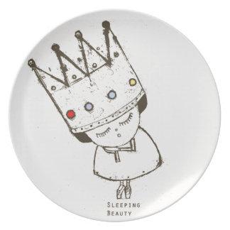 princesa de la placa de la bella durmiente de la b platos de comidas