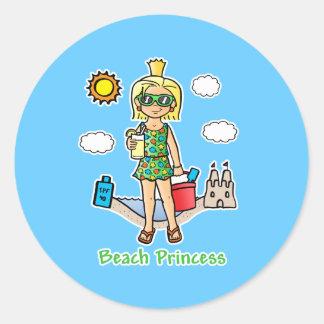 Princesa de la playa pegatina redonda