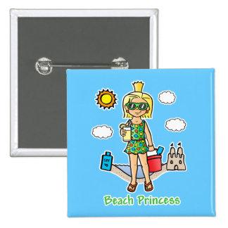 Princesa de la playa pin cuadrado