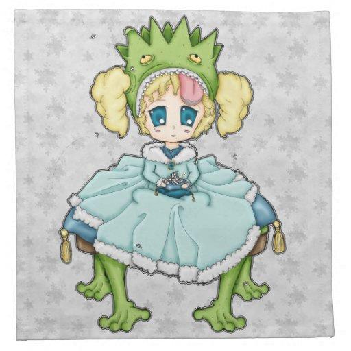 Princesa de la rana de Chibi Servilleta Imprimida