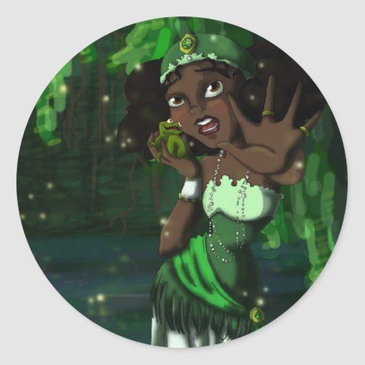 Princesa de la rana pegatina redonda