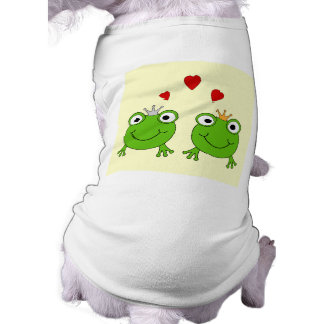 Princesa de la rana y príncipe de la rana, con los camisetas mascota