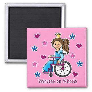 Princesa de la silla de ruedas imán cuadrado