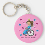 Princesa de la silla de ruedas llavero personalizado