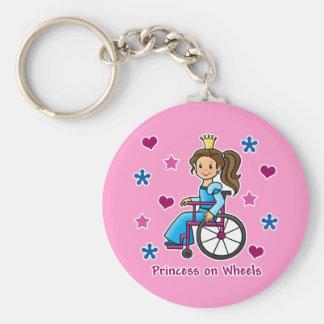 Princesa de la silla de ruedas llavero redondo tipo pin
