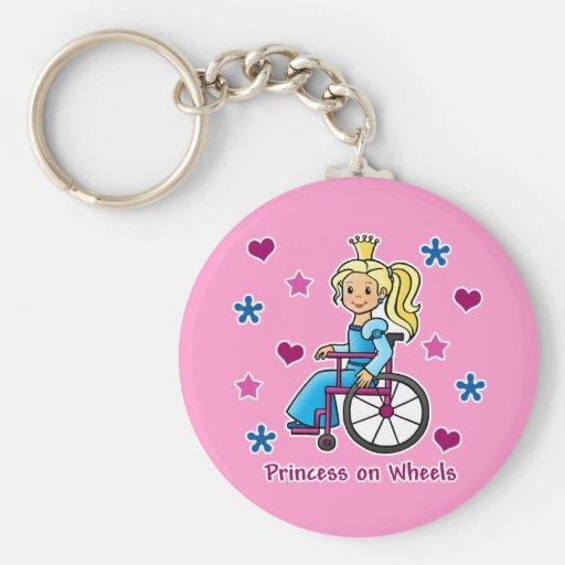 Princesa de la silla de ruedas llaveros