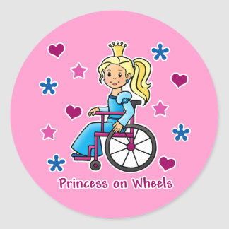 Princesa de la silla de ruedas pegatina redonda