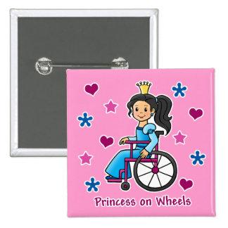 Princesa de la silla de ruedas pin cuadrada 5 cm