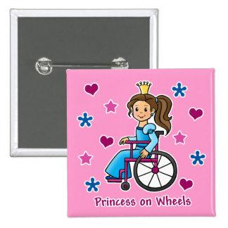 Princesa de la silla de ruedas pin cuadrado