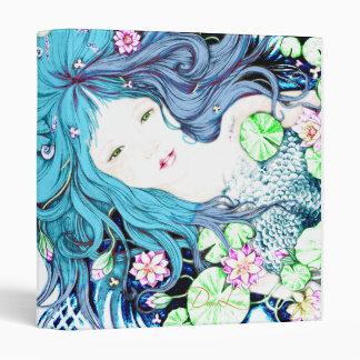 Princesa de la sirena en carpeta azul de las