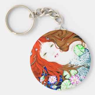 Princesa de la sirena en estilo del arte pop llavero redondo tipo pin