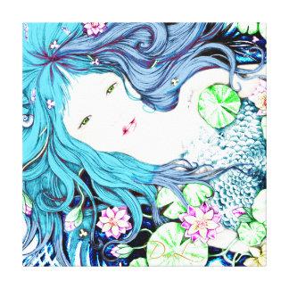 Princesa de la sirena en lona azul de las impresión en lienzo