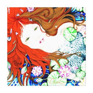 Princesa de la sirena en lona del estilo del arte  impresión de lienzo
