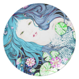 Princesa de la sirena en placa azul de las plato de cena