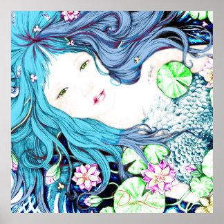 Princesa de la sirena en poster azul de las