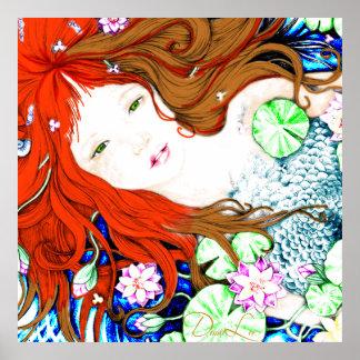 Princesa de la sirena en poster del estilo del art