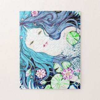 Princesa de la sirena en rompecabezas azul de las