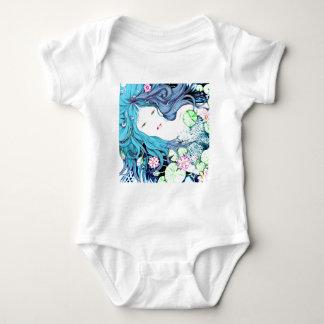 Princesa de la sirena en tonalidades azules body para bebé