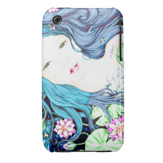Princesa de la sirena en tonalidades azules Case-Mate iPhone 3 protectores