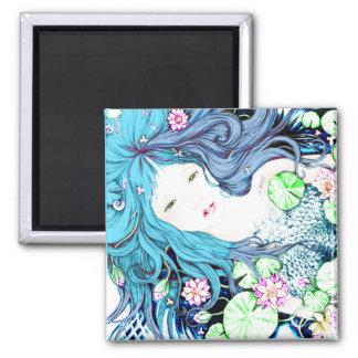 Princesa de la sirena en tonalidades azules imán cuadrado