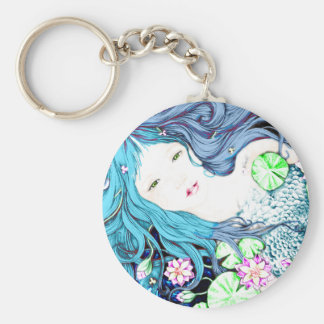 Princesa de la sirena en tonalidades azules llavero redondo tipo pin