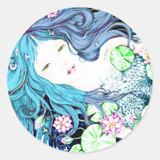 Princesa de la sirena en tonalidades azules pegatina redonda
