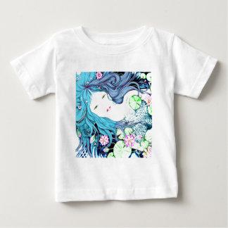 Princesa de la sirena en tonalidades azules playera de bebé