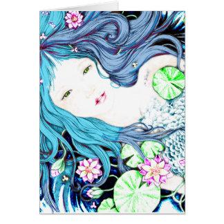 Princesa de la sirena en tonalidades azules tarjeta de felicitación