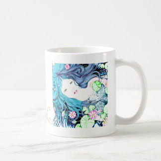 Princesa de la sirena en tonalidades azules taza de café