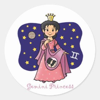 Princesa de los géminis pegatina redonda