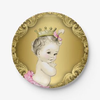 Princesa de lujo fiesta de bienvenida al bebé del plato de papel de 7 pulgadas