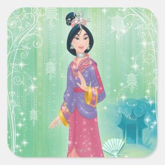 Princesa de Mulan Calcomanías Cuadradas
