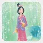 Princesa de Mulan Pegatina Cuadrada