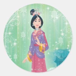 Princesa de Mulan Pegatina Redonda