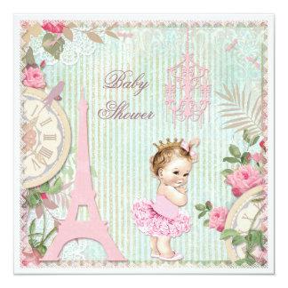 """Princesa de París en fiesta de bienvenida al bebé Invitación 5.25"""" X 5.25"""""""