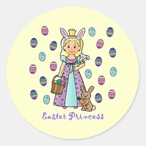 Princesa de Pascua Pegatina Redonda