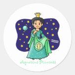 Princesa del acuario etiquetas redondas