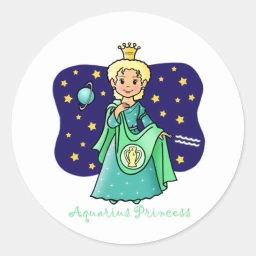 Princesa del acuario pegatina redonda