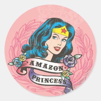 Princesa del Amazonas de la Mujer Maravilla Pegatina Redonda