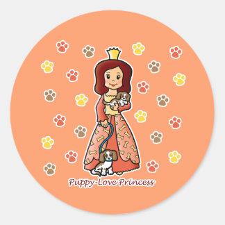 Princesa del amor adolescente etiqueta redonda