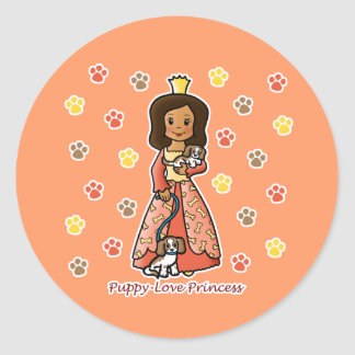 Princesa del amor adolescente etiquetas redondas