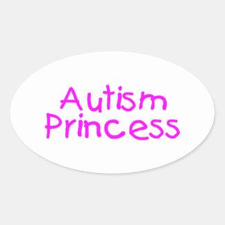Princesa del autismo pegatina ovalada