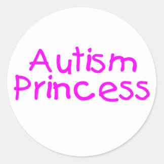 Princesa del autismo pegatina redonda