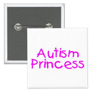 Princesa del autismo (rosa) pin cuadrado